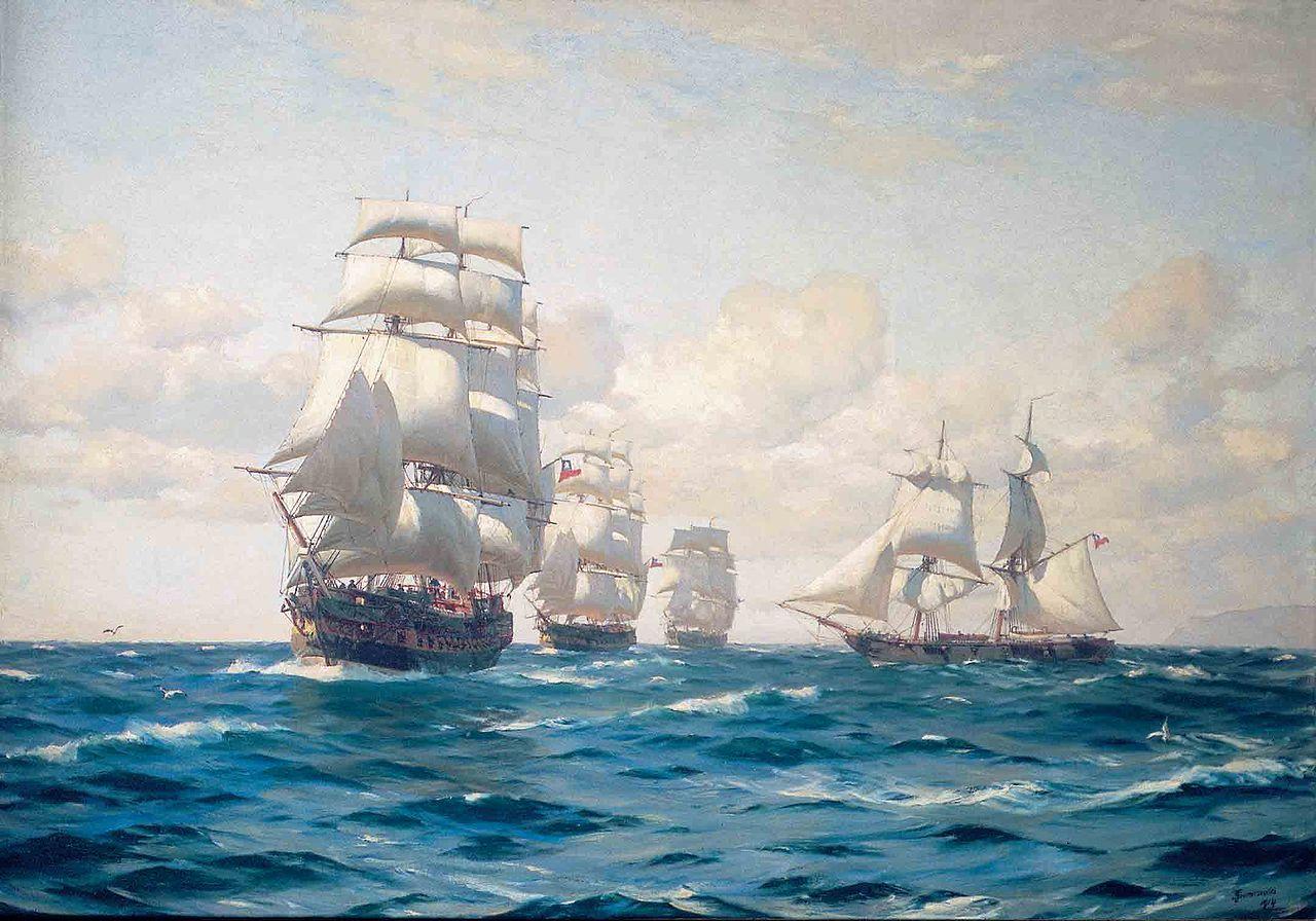 Az első chilei haditengerészet hajói. Elöl a San Martin, mögötte a Lautaro és a Chacabuco, jobbra az Araucano.