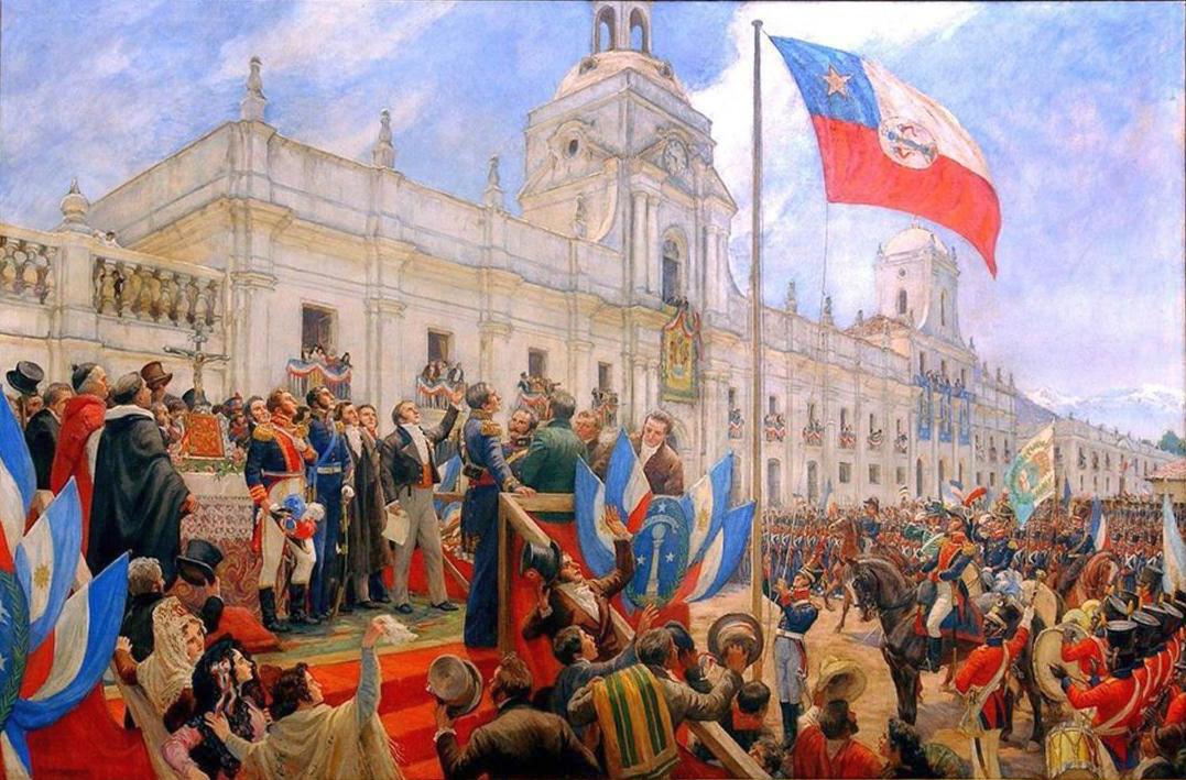 Chile függetlenségének kikiáltása, 1818 február 18-án.