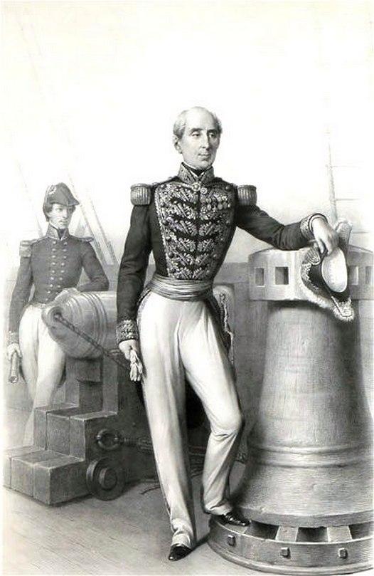 Manuel José Blanco y Calvo de Encalada, a chilei haditengerészet altengernagyaként 1856-ban.
