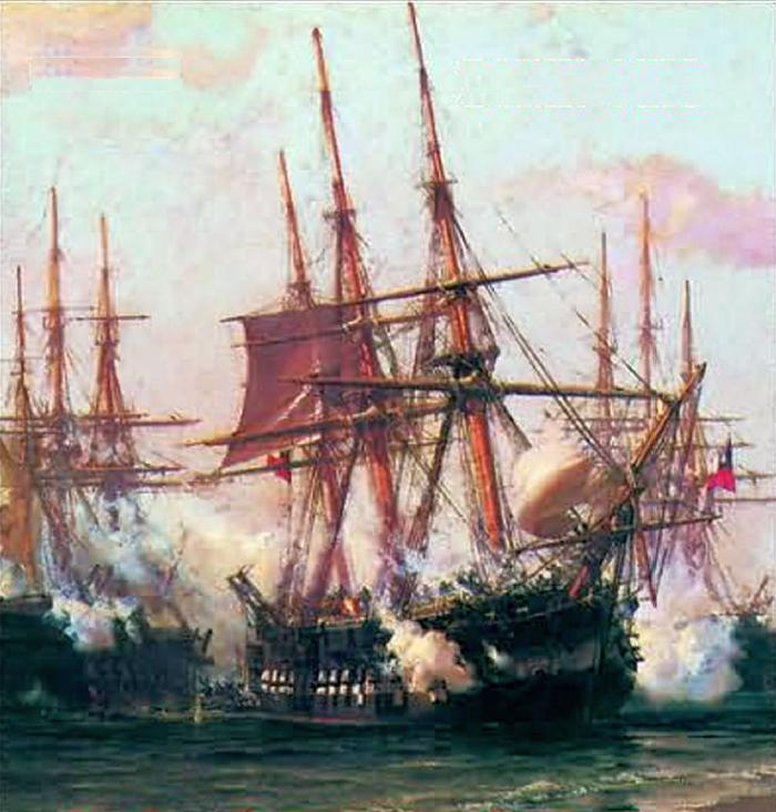 Chilei hadihajók ütközetben.