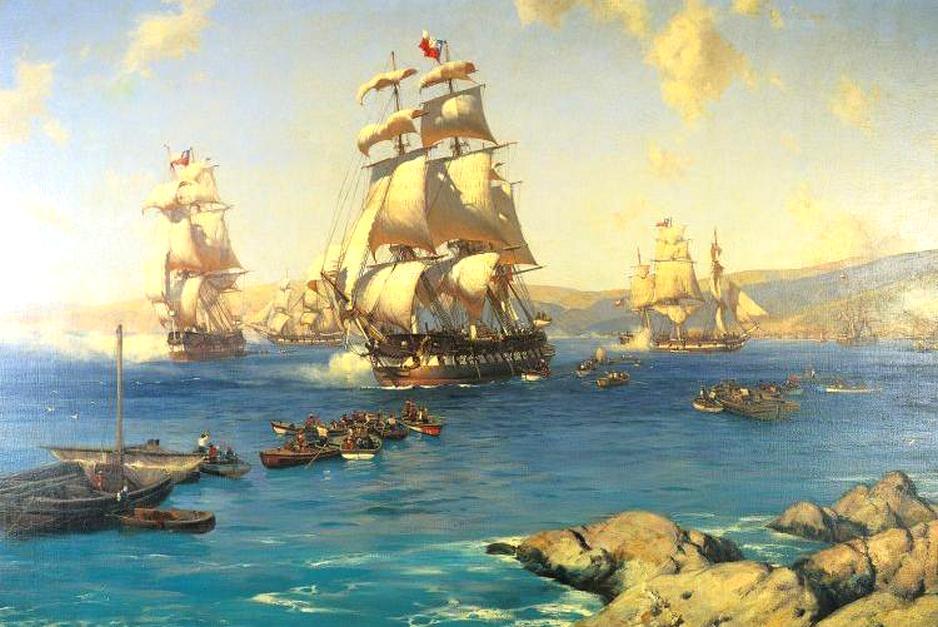 A chilei flotta kifut Valparaiso-ból.