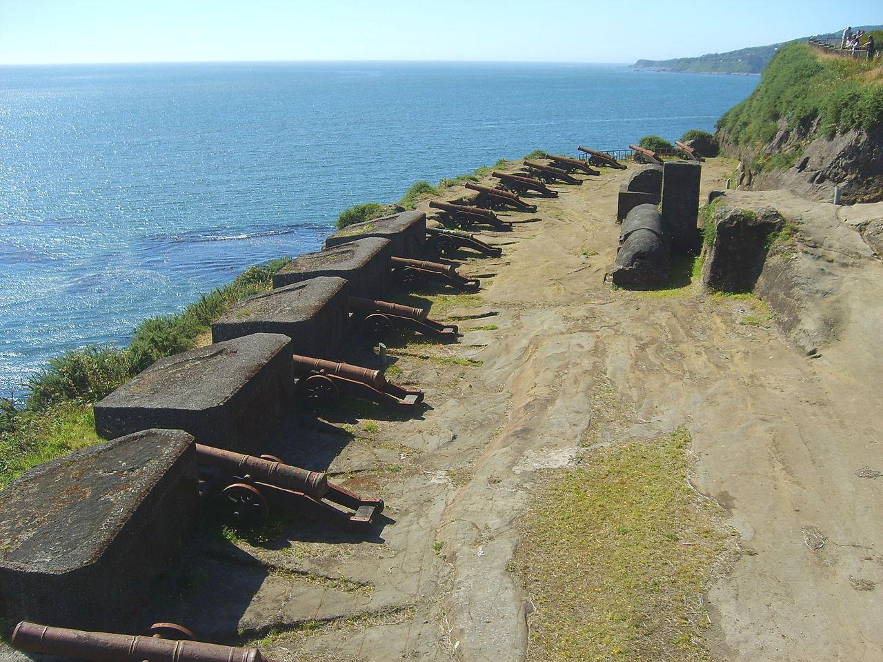 A Niebla erőd ágyúi Valdiviában.