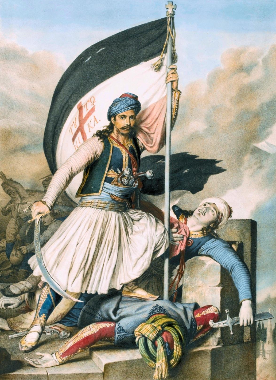 Görög szabadsághősök, ahogy a rousseauista nyugati értelmiség elképzelte őket.