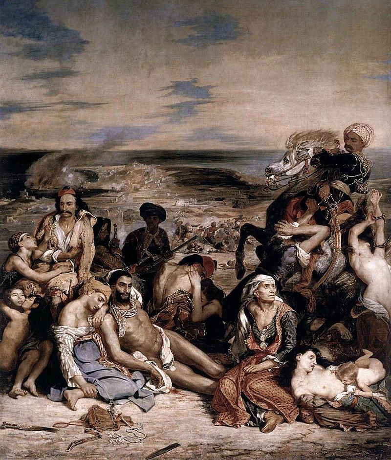 Chios szigetén a török katonaság 1822 áprilisában 25-50 ezer görög lakost gyilkolt meg. Az esemény nagy felháborodást váltott ki nyugaton, és nagy lökést adott a görögök támogatottságának. Delacroix festménye a chios-i mészárlásról készült, bár a képaláírás nélkül szerintem nehéz lenne megmondani, mit is ábrázol.