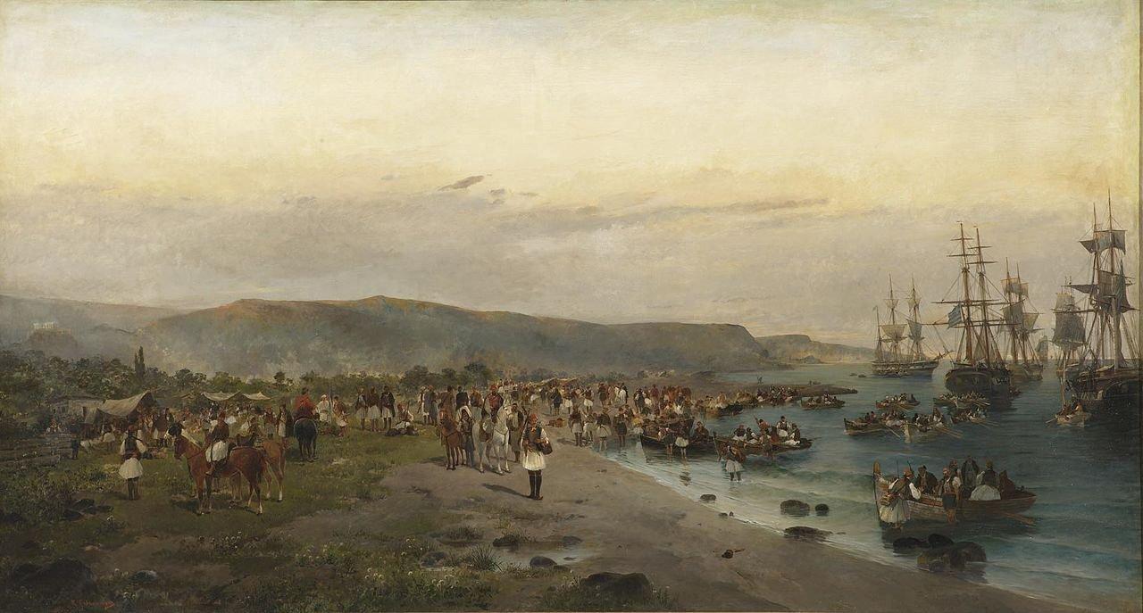 A görög csapatok partraszállnak a Pireusz melletti Phaleronnál.