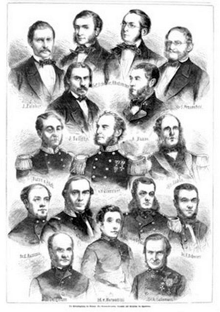A világ körüli útra induló Novara tisztikara, és a tudósok. Középen az expedíció parancsnoka, Wüllerstorf-Urbair, alatta jobbra nagy pofaszakállal Gyulai Gaál Béla.