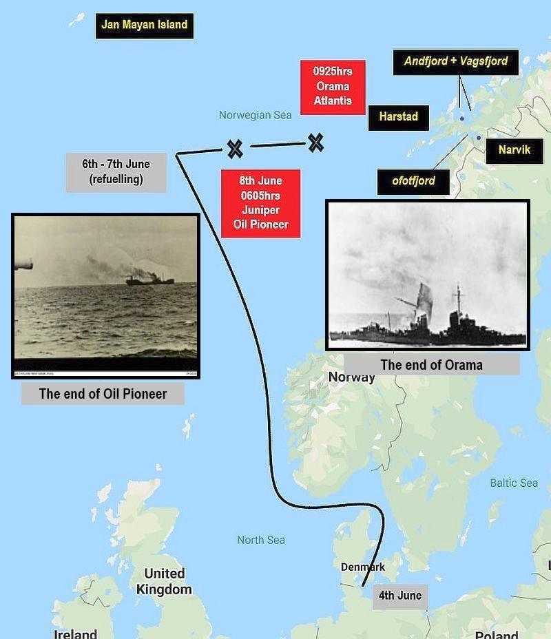 A német hajók útvonala.