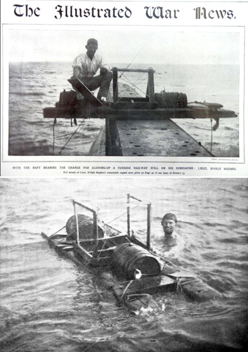 Korabeli újságképek Guy D'Oyly-Hughes-ról, és házi készítésű tutajáról, mellyel a diverzáns akciókhoz szükséges felszerelést és robbanóanyagot szállította partra.