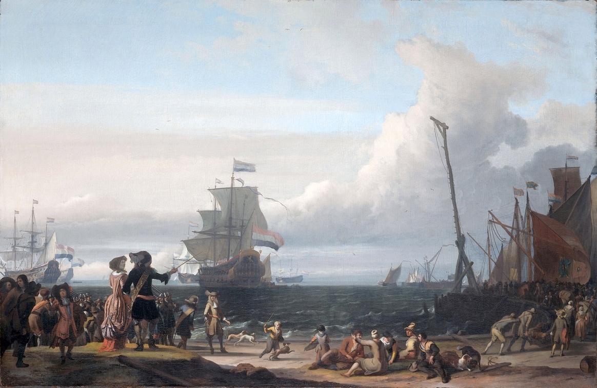 Texel kikötője előtt horgonyzó holland hajók.