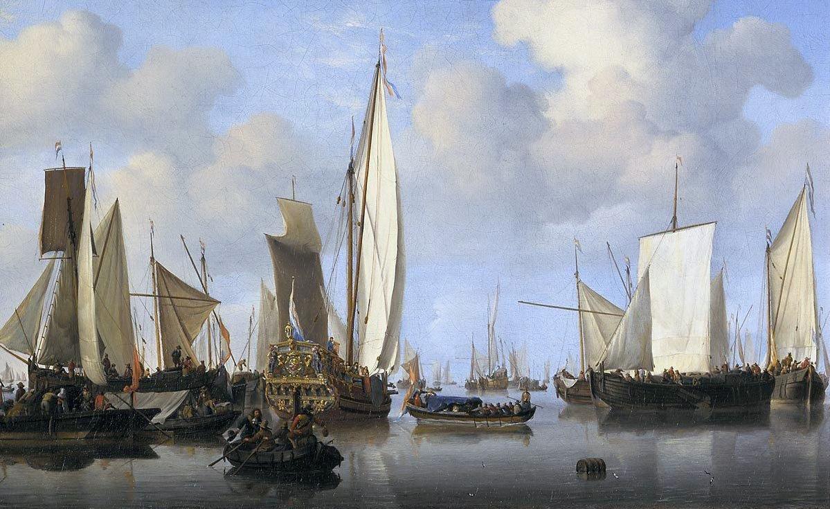 Teherhajók egy holland kikötőben.
