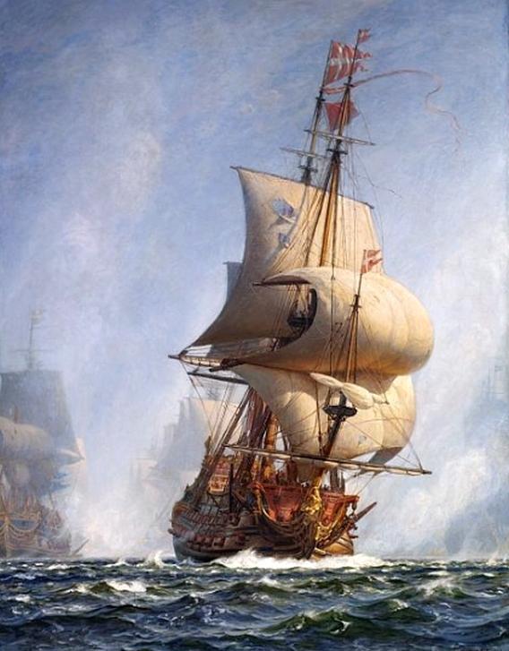 A dán flotta zászlóshajója, a Christianus Quintus.