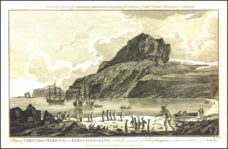 James Cook harmadik expedíciójának hajói a Kerguelen-szigeteken.
