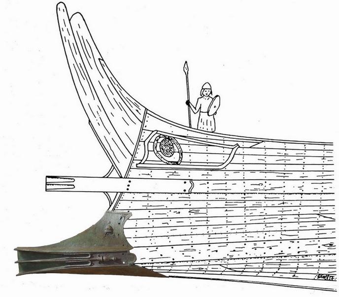 Egy ókori döfőorr, és a hozzátartozó hajó rekonstrukciós rajza.