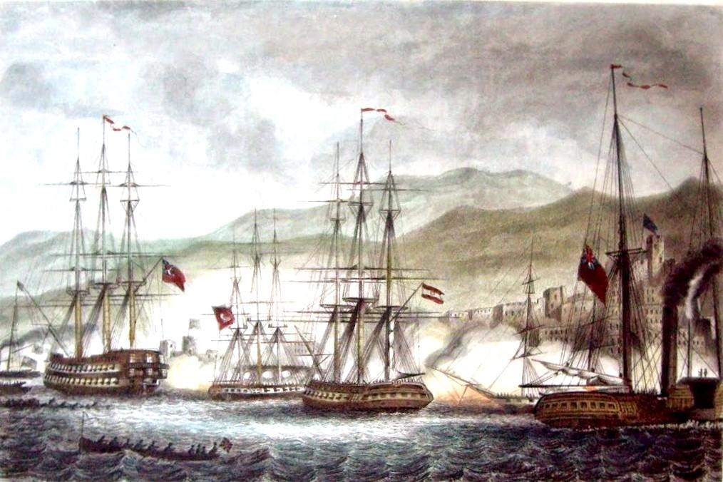 Sidon (Saida) ágyúzása 1840-ben. Középen az osztrák Guerriera fregatt.