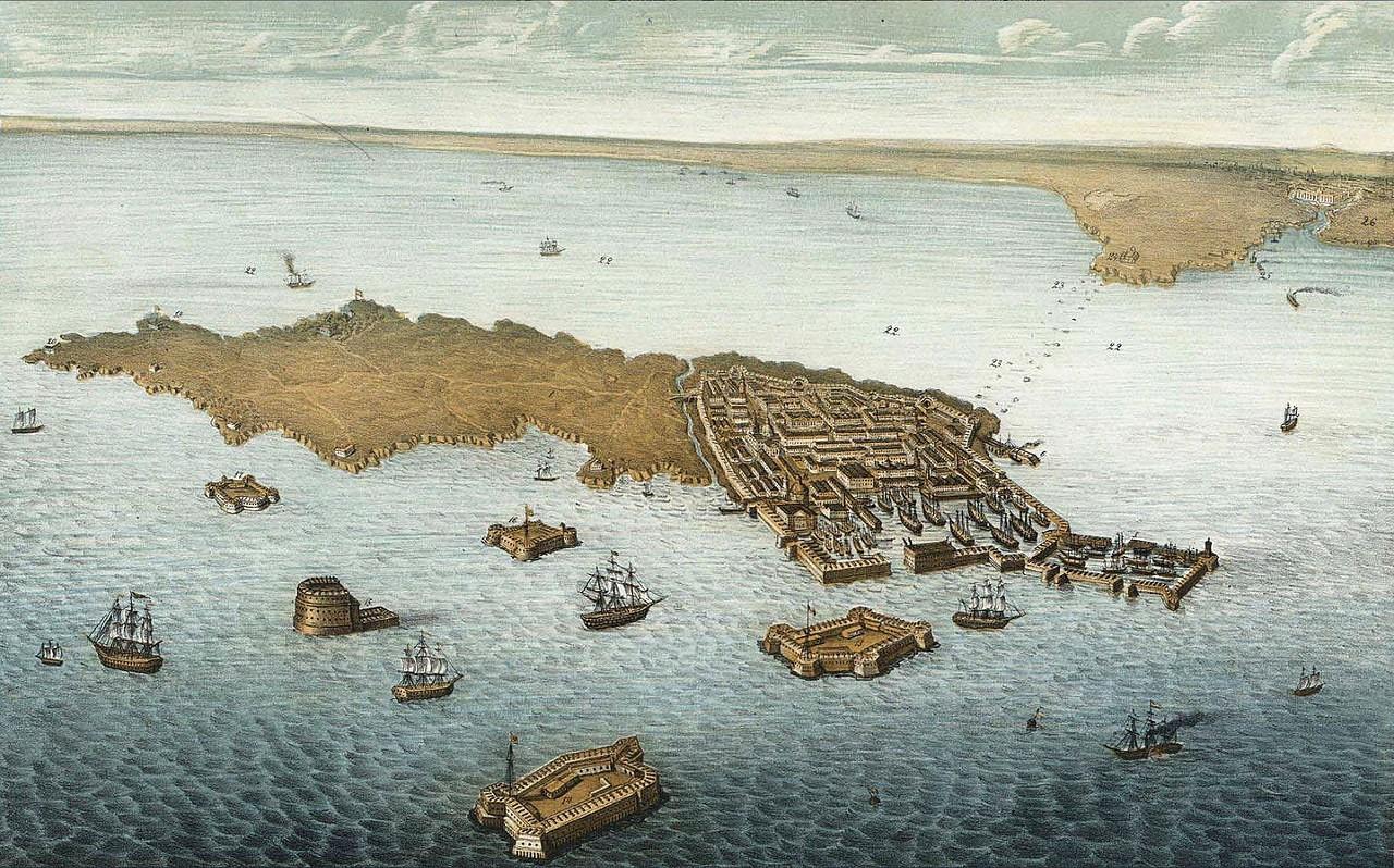 Kronstadt látképe egy 1855-ben készült rajzon.