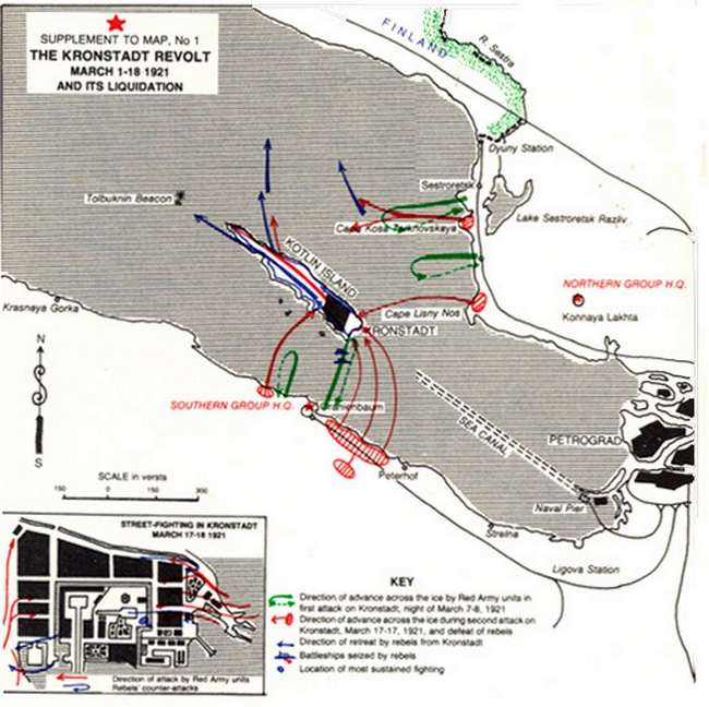 A Kronstadt elleni támadások térképen.