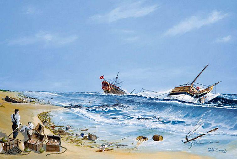 A partközelben megfeneklett hajók.