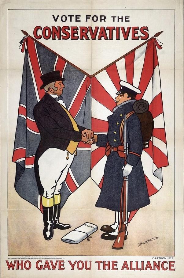 A japán szövetség létrehozásával kampányoló konzervatívok választási plakátja 1902-ből. Érdekes, hogy ugyanezt a plakátot a liberális párt is felhasználta.