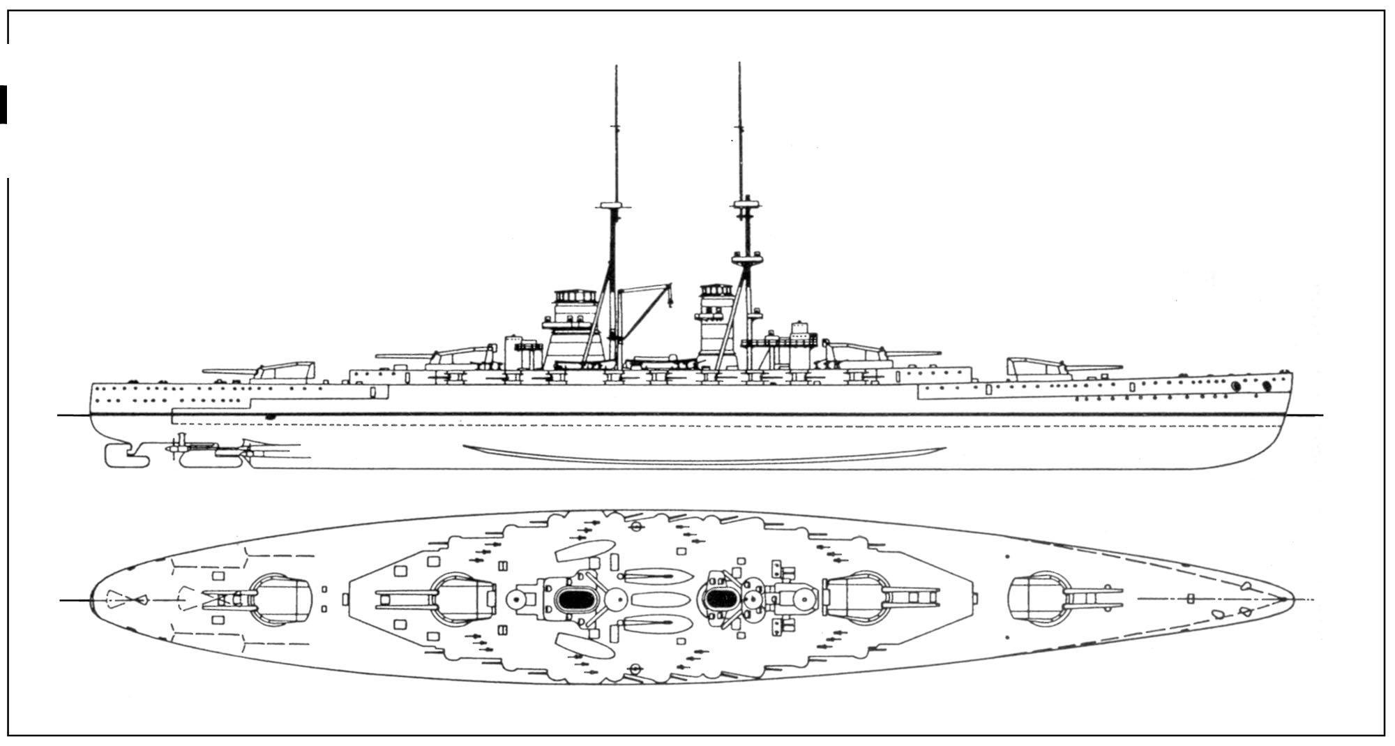 Caracciolo osztályú csatahajó rajza.