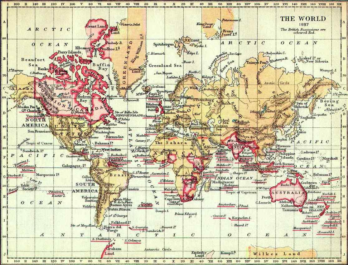A Brit Birodalom a XIX. század végén.