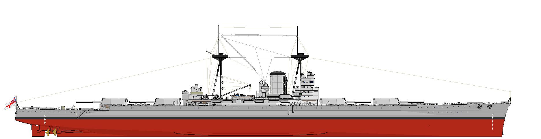 Az L1 jelű csatahajóterv négy ikerlövegtoronnyal felszerelt változata.