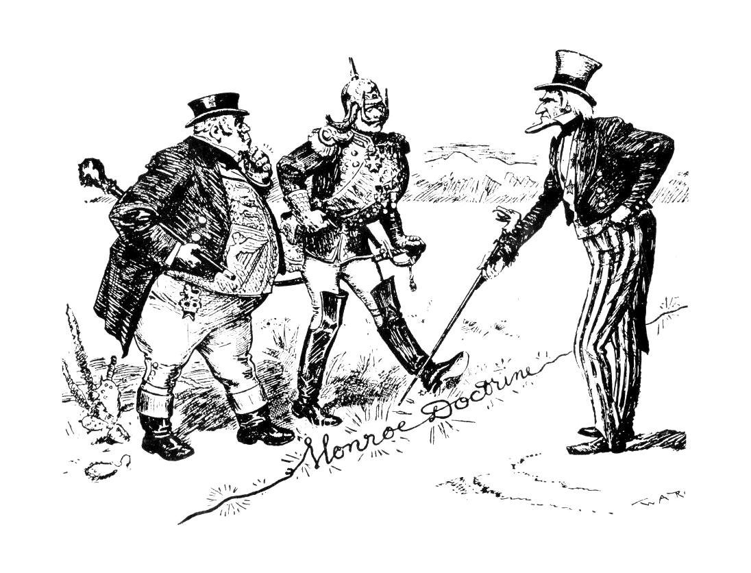 Amikor a németek mellett még az angolok voltak a távol tartandó ellenfelek. Amerikai karikatúra.