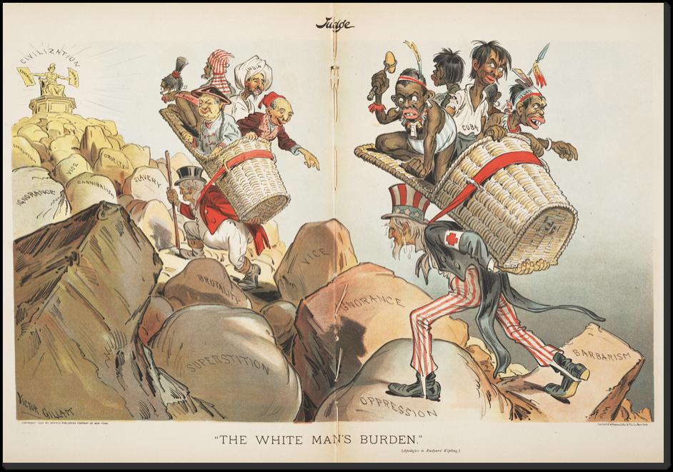 A fehér ember nehéz terhe. A művelt angolszász népek felcipelik a barbárokat a civilizáció csúcsaira.