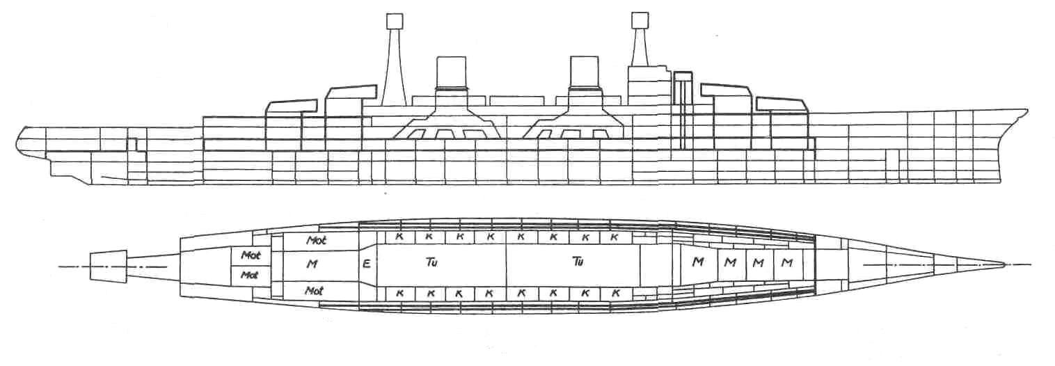 A Lexington vázlatrajza, és hosszmetszetei. Az alsó rajzon jól lehet tanulmányozni a turbó-elektromos meghajtás elrendezését.