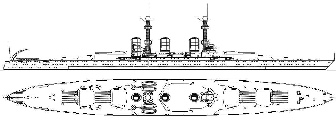 A hatágyús lövegtornyokkal szerelt Tillman csatahajó vázlatrajza.