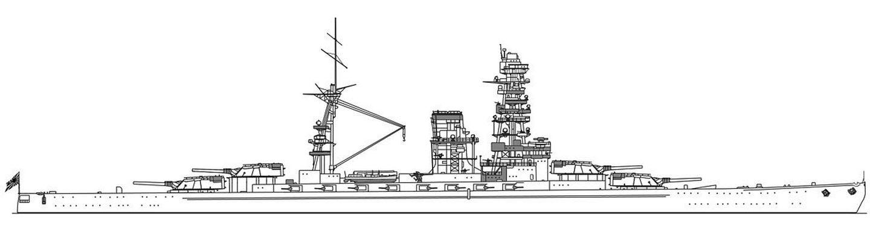 A No.13 csatahajó oldalnézeti rajza.
