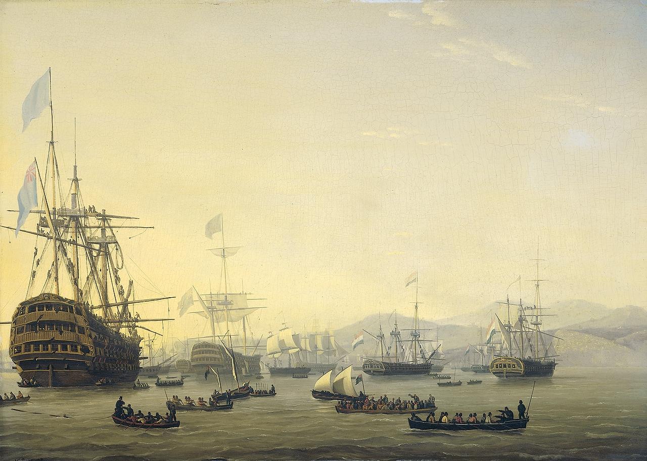 Plymouth előtt horgonyzó hadihajók. Az előtérben a Queen Charlotte.