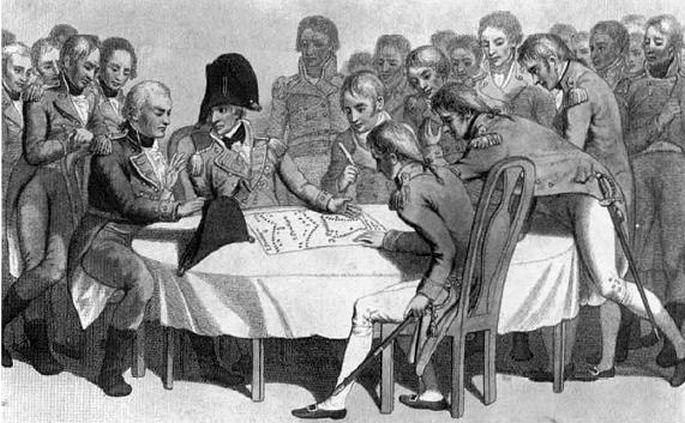 Nelson taktikai megbeszélést tart Trafalgar előtt.
