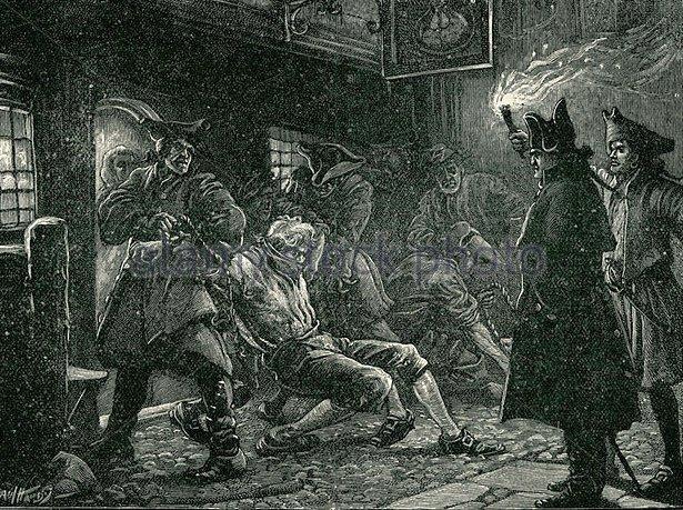 A toborzók vonakodó önkénteseket hurcolnak el egy kocsmából.