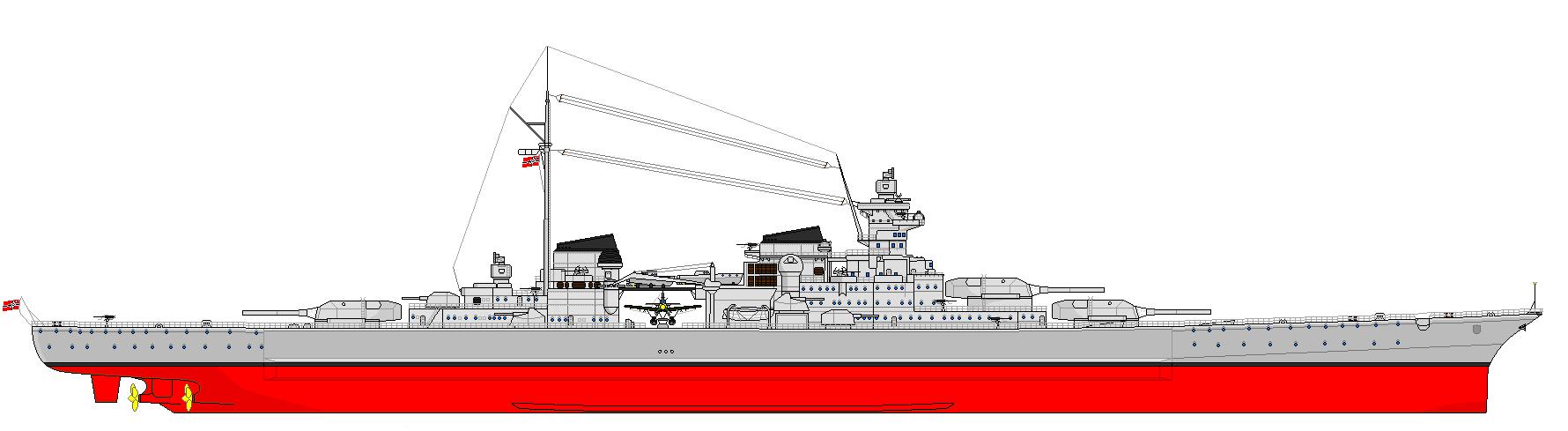 O osztályú csatacirkáló oldalnézeti rajza.