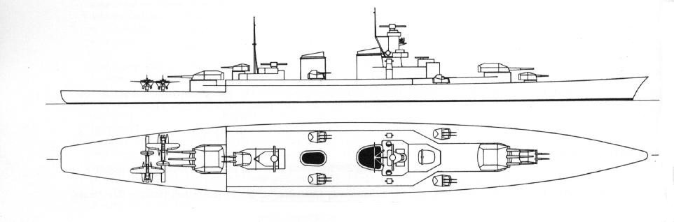 A P osztályú cirkálók egyik tervvázlata.