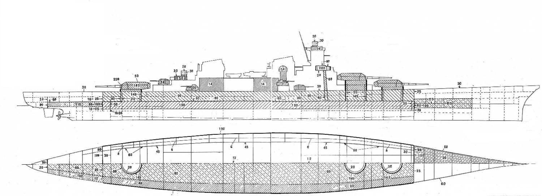 A csatacirkáló páncélelrendezési rajza.