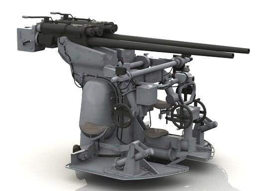 3D grafika egy 37 mm-es ikergépágyúról.