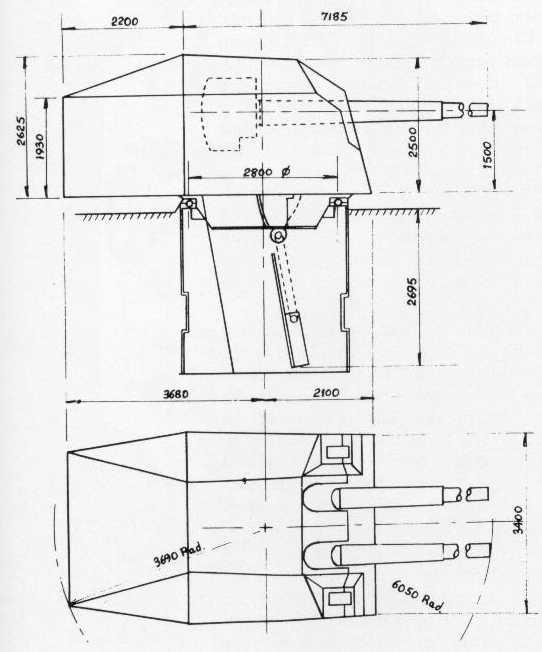 Egy 15 cm-es lövegtorony műszaki rajza.