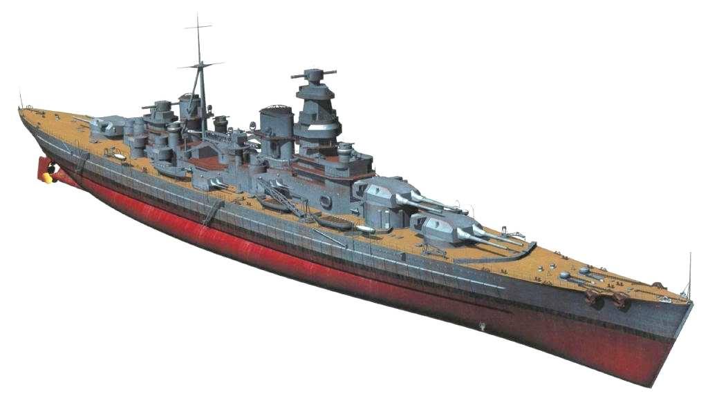 A szintén bejezetlenül maradt orosz Kronstadt csatacirkáló. A hajót eredetileg 3x3 darab 305 mm-es löveggel tervezték, de a rajzon már a német 38 cm-es ágyúkra áttervezett változat látható.