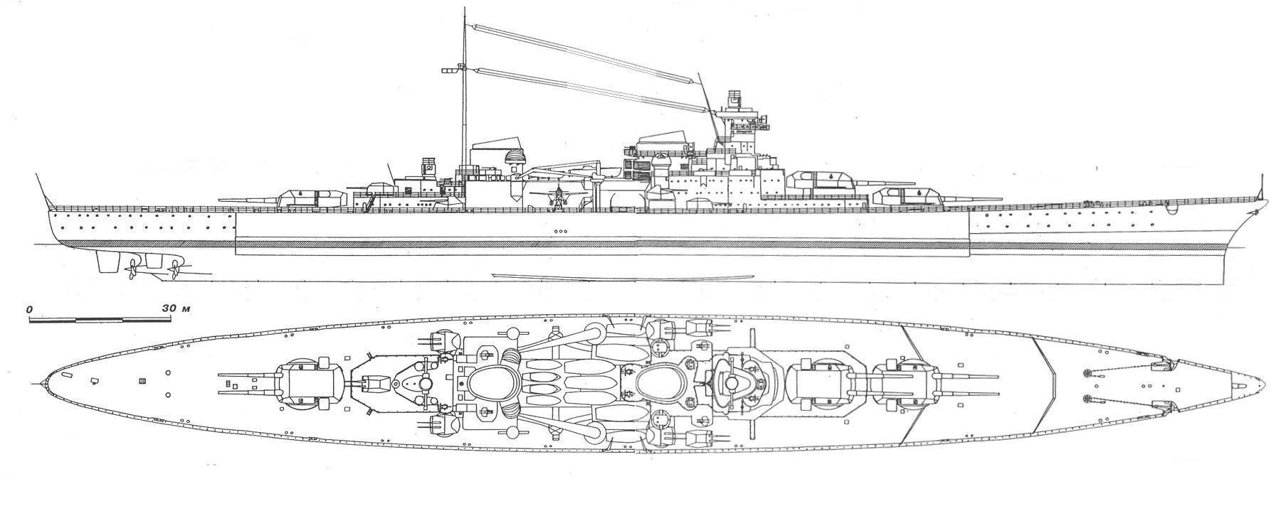 A csatacirkáló oldalnézeti rajza és felülnézete.