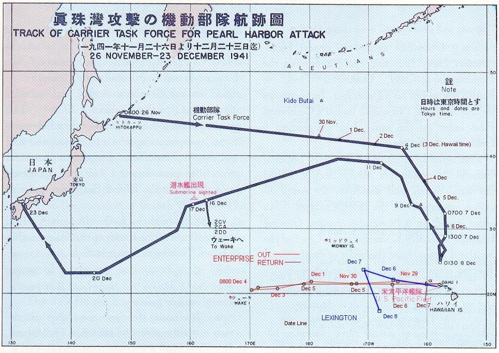 A támadó japán kötelék, illetve a két amerikai anyahajó útvonala.