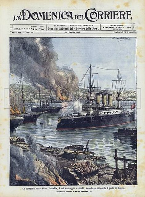 Az Odesszát ágyúzó Patyomkin egy olasz újság címlapján.