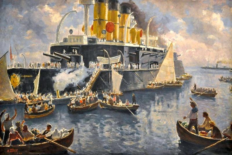 Ahogy a népi-naiv festő elképzelte a tengerészek és a nép találkozását.