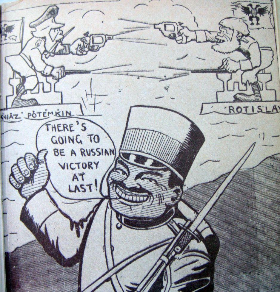 Itt a végén az oroszok fognak győzni. Korabeli karikatúra.
