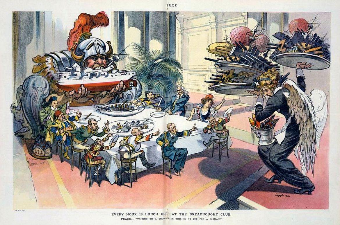 Ebéd a Dreadnought Klubban. A Puck karikatúrája.