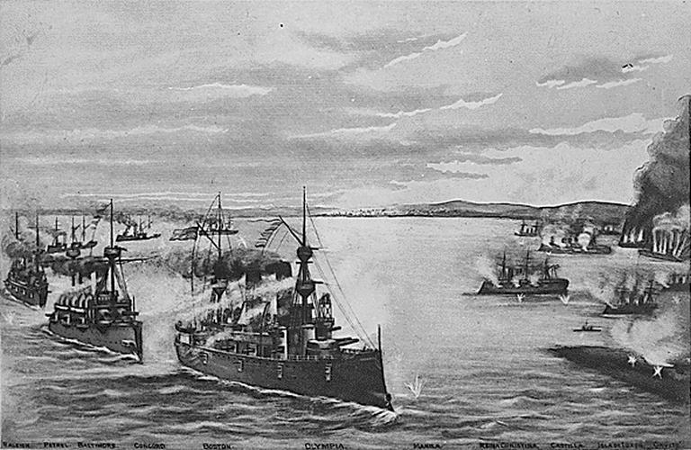 Dewey hajóraja a Manilai-öbölben megsemmisíti a spanyol flottát.