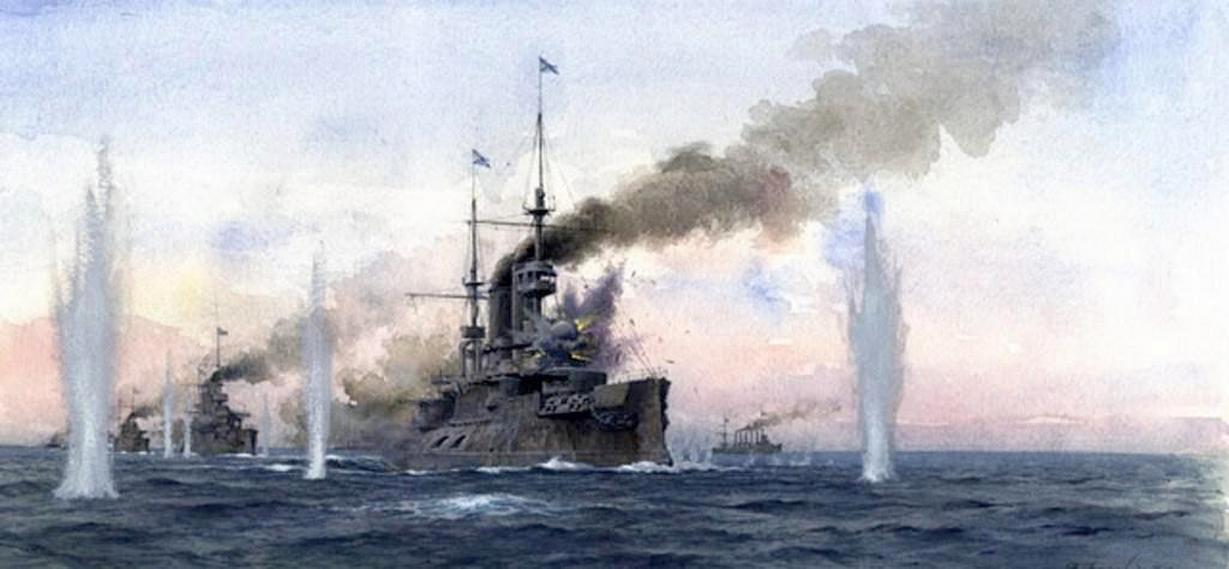 A Sárga-tengeri csata egy festményen.