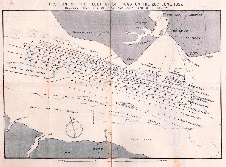 Az 1897-es spithead-i flottaszemlén felsorakozó brit hadihajók.