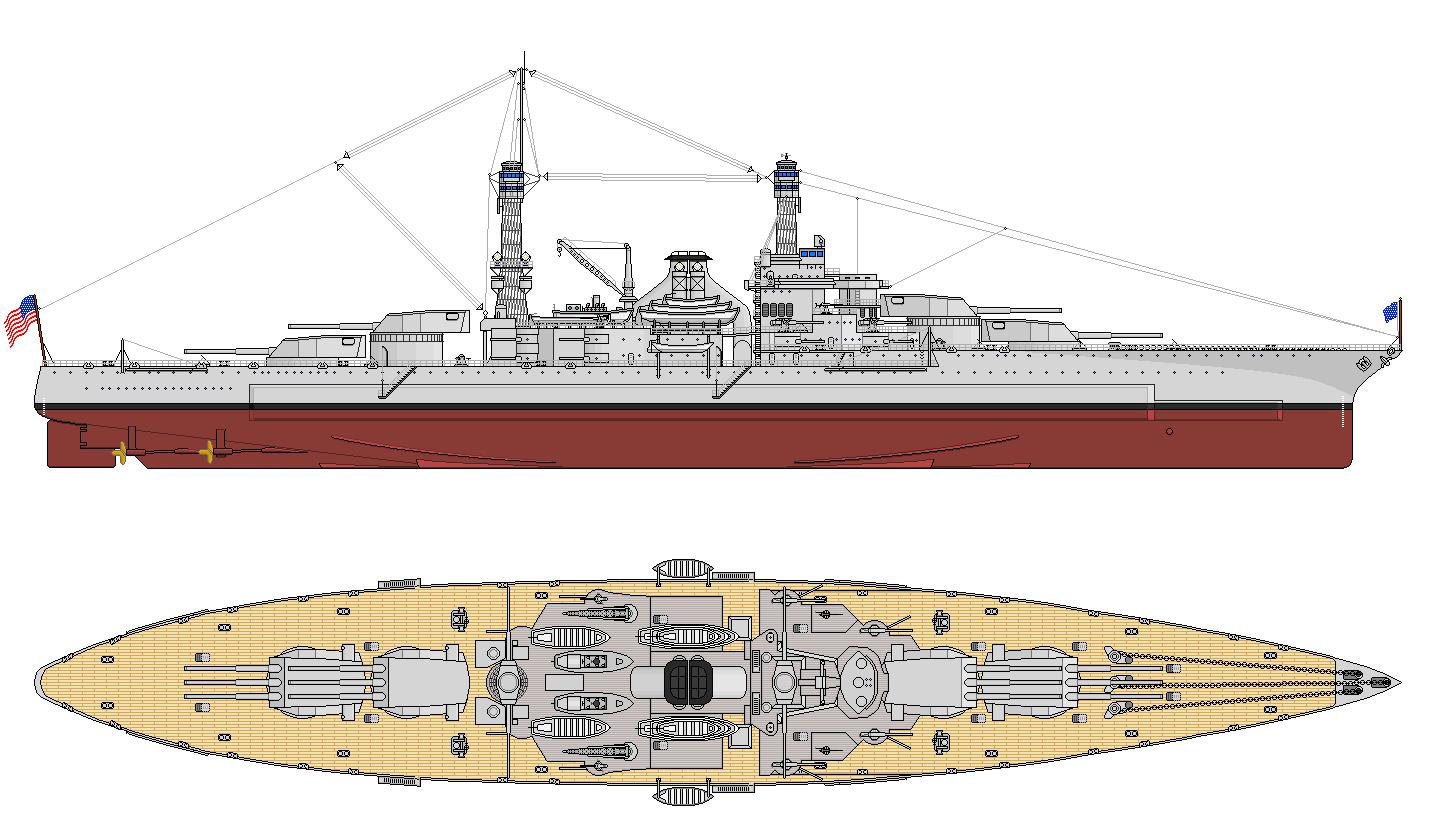 Egy majdnem megvalósult projekt. A 47 ezer tonnás, 12 darab 406 mm-es ágyúval felszerelt South Dakota rajza.