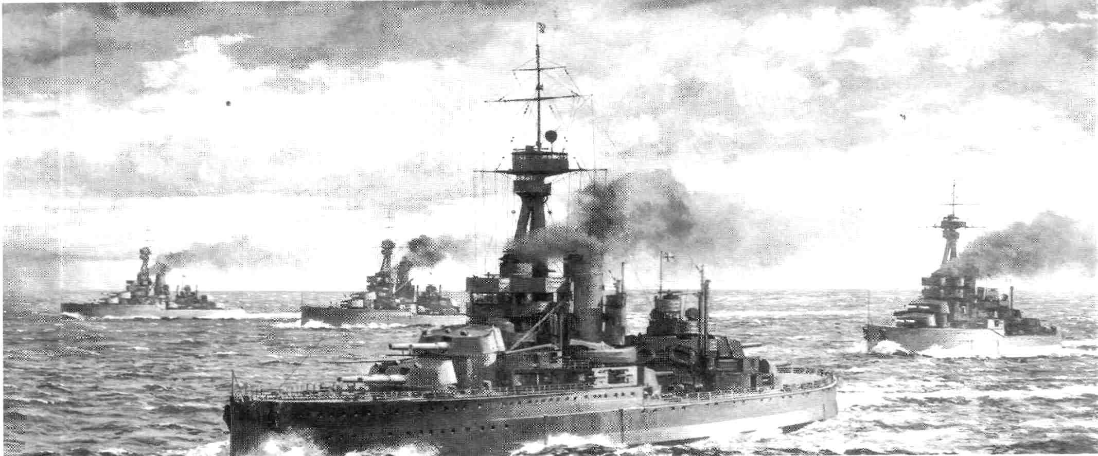 Angol csatahajóraj az Északi-tengeren.